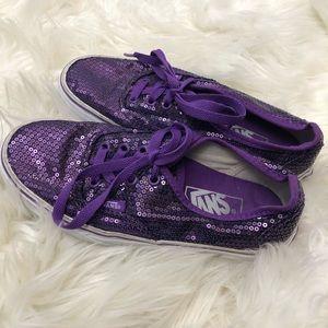 Vans Purple Sequin Womens 5.5 Sneakers